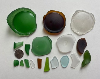 Baltic beach Huge sea Glass Green bottoms 2 pcs set numeral Sea Glass Bottle Bottom collectible craft supplies guests green place cards