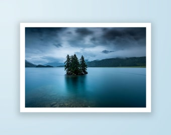Dramatic landscape high quality fine art print, landscape photography print of Lake Sils in St. Moritz by Jennifer Esseiva.