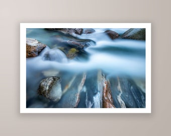 Running River high quality fine art photography print, nature photography print, graphical photography by Jennifer Esseiva.