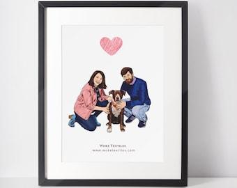 Custom Family Portrait With Pets , Personalized Couple Dog Print, Couple Illustration, Custom Couple Portrait, Owner And Pet Portrait