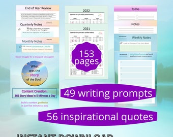 Content Creation Idea Planner & Tracking Spreadsheet | Story Writing Prompts | Marketing | 12-month Instant Download | Letter | A4 | A5