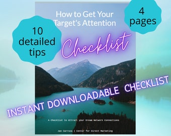 How to Get Attention Checklist | Sales Prospecting |Social Media Tips | Marketing Tools| Instant Download | Printable | Letter | A4 | A5