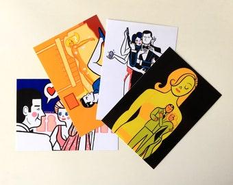 Goldfinger - Octopussy - James Bond 007, postcards