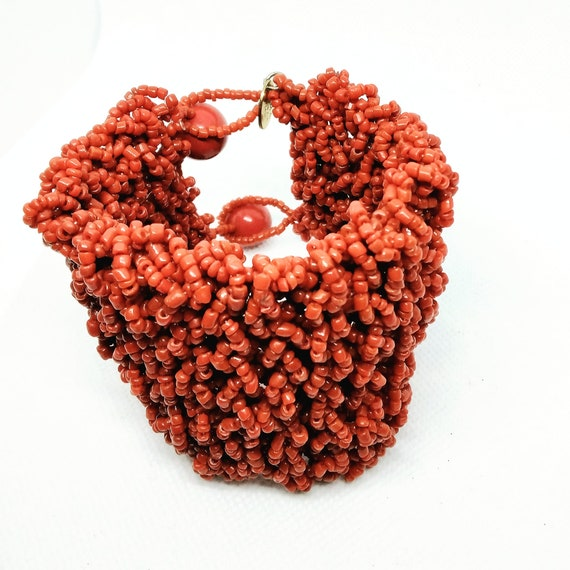 Elma Venezia Beaded Coral Red Cuff Bracelet Design