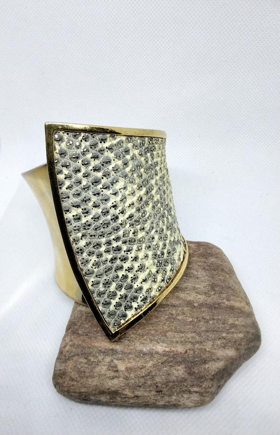 Vintage Kara Ross Cuff Bracelet Alligator Skin Chu