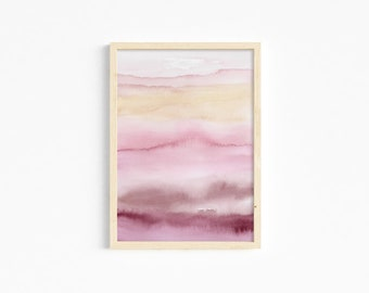 Abstract art print, pink abstract landscape sheet, decorative sheet, abstract pink landscape painting, abstract watercolor illustration