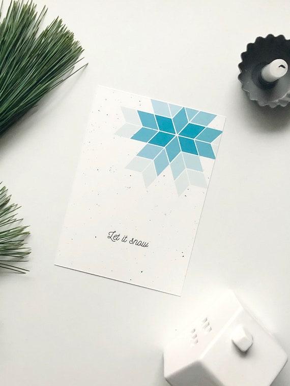 "Postkarte Schneeflocke, ""Let it snow"""