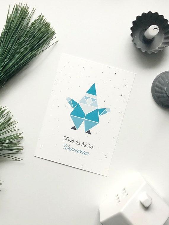 """Postkarte Weihnachtsmann, """"Froh ho ho he Weihnachten"""""""