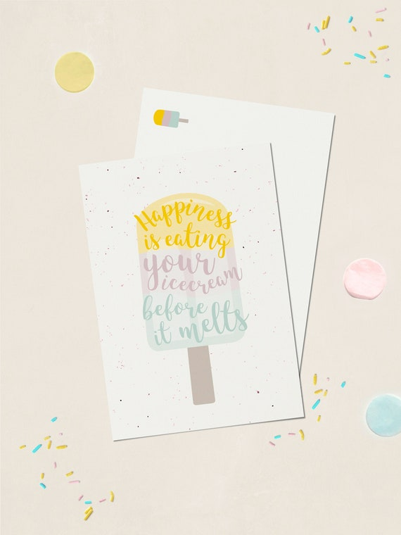 """Postkarte Eis """"Happiness is eating your Icecream ..."""""""