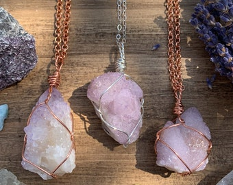 Spirit Quartz Necklace Raw Crystal Necklace Sterling Silver Spirit Quartz Necklace Protection Stone 925 Fairy Spirit Quartz Pendant