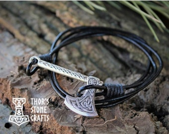 viking bracelet axe charm slavic amulet ax bracelet Nordic Jewelry Viking mens scandinavian Thor warrior bracelet agate beads Odin axe