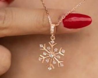 Silver necklace - necklace - 925 sterling - SNOW FLAKE MODEL ZIRKON - 159