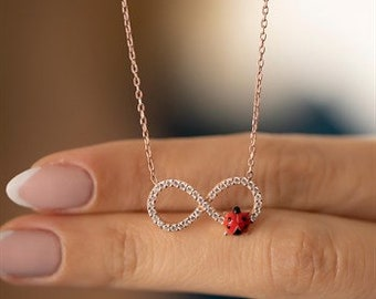 Silver Necklace - Necklace - 925 Sterling - Infinity Ladybug - 180