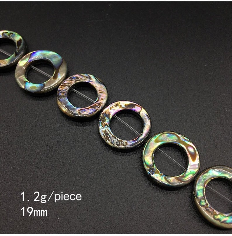 Natural Abalone Beads Rainbow Glow Blue Green Red Pink Flash-Jewelry Accesories-Personalized Jewelry-Wholesale-top to buttom hole