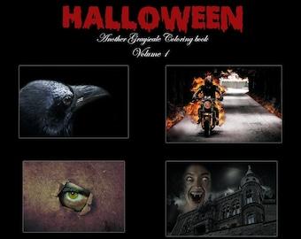 Halloween digital pdf coloring book download