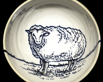 Sheep wire bowl on the farm