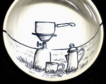 Bowl thread conductor hiking coffee break with gas stove