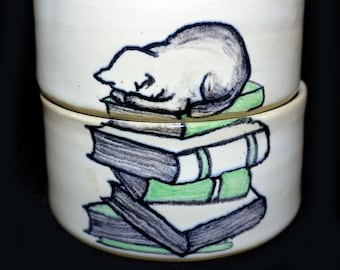 Duo of cat stacking cups that sleeps on books