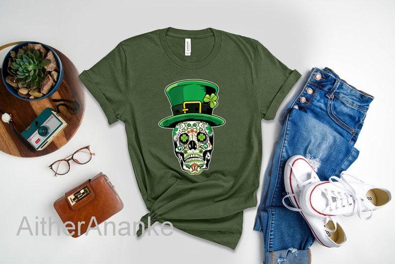 Sugar Skull Saint Patricks Day of Dead T-Shirt