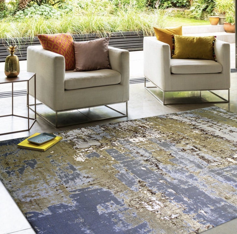 Gray Beige  Modern Abstract Artsy Watercolor Inspired Area Rug