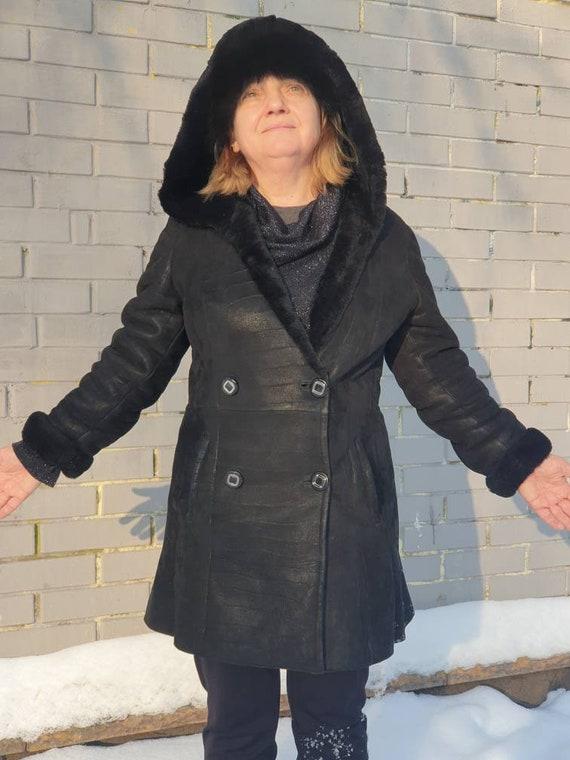 Womens Natural Sheepskin Shearling Coat sz M Warm