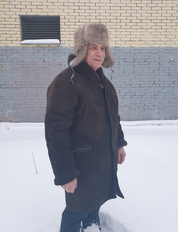 Mens Natural sheepskin shearling coat size 2XL-3XL