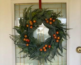 Eucalyptus Wreath   Fall Eucalyptus Wreath   Orange Berry Wreath   Front Door Decor   Thanksgiving Wreath   All Season