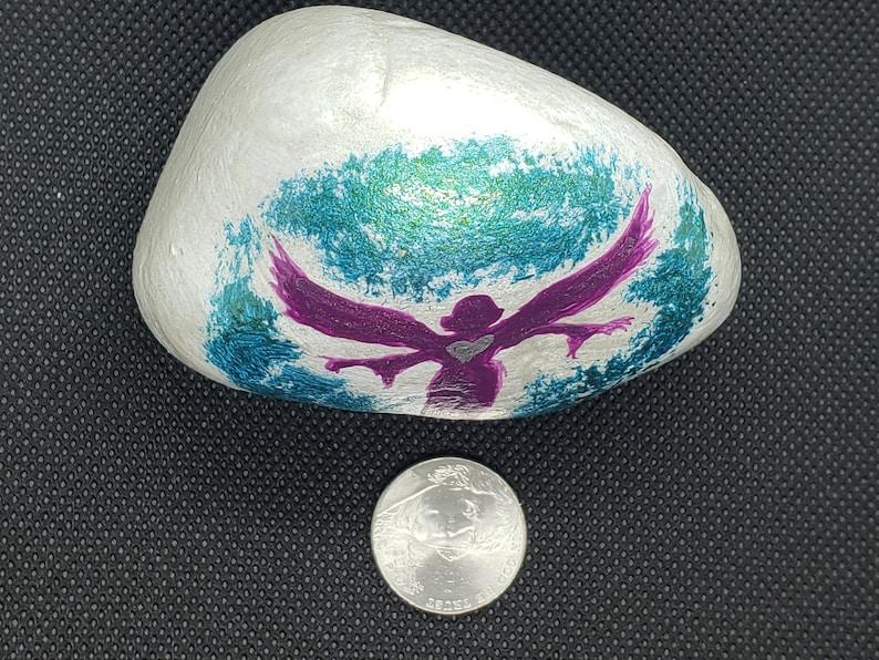 angel wings Guardian angel rock garden stone sympathy rock decorative rock paperweight sympathy gift