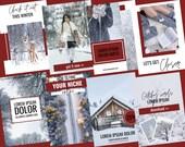 Pinterest templates voor Canva | Winter Red