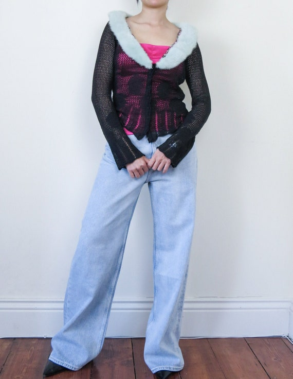 Blumarine fur collar crochet cardigan