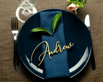 Wedding Place Card, Gold Place Name, Laser cut names. Wedding titles, cards with table name.