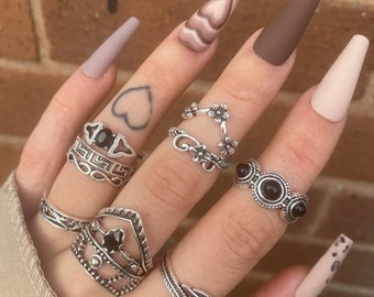 and Spinner Ring Black CZ The Black Rose Gothic Bridal 5pc Stacking Ring Set with Black Onyx
