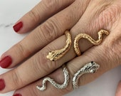 Silver or Gold Adjustable Snake Ring, Silver Snake Ring, Gold Snake Ring, Snake Ring, Adjustable Ring, Statement Ring, Fashion Ring, Gift