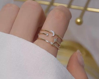 Band Princess Minimal Stacking Ring Geometric EB9235 Thin Gold Rings Double Stacking Band Rings 14K Dainty Gold Moon Star Crown Ring