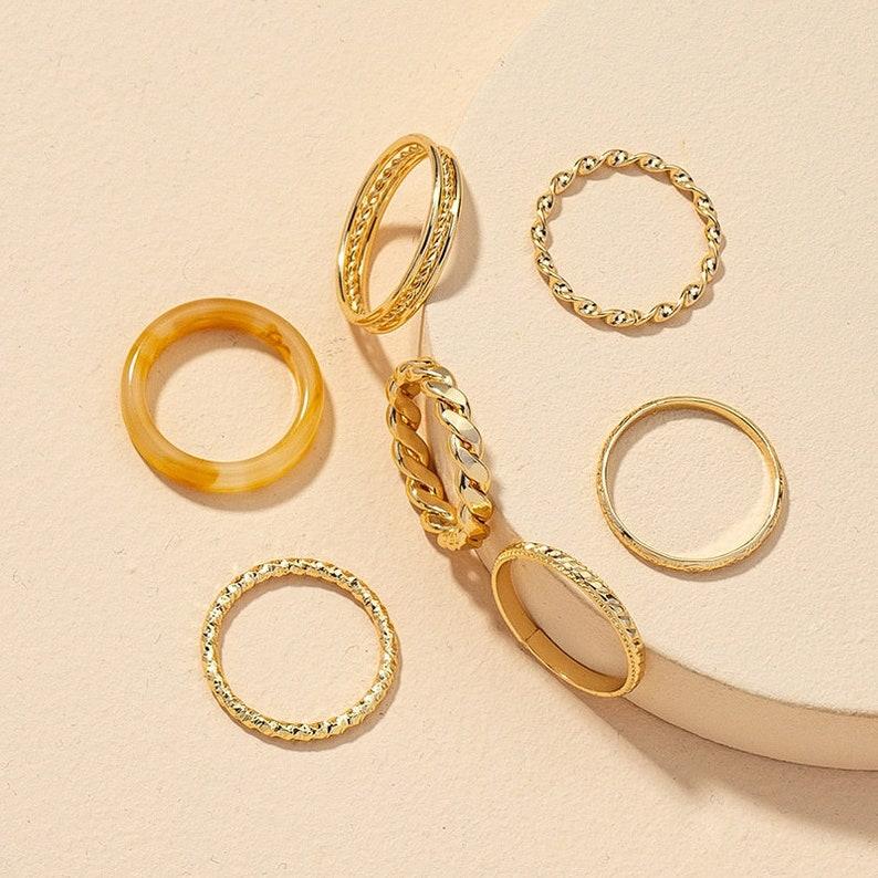 Resin Ring Stacking Ring Stackable Ring Gift For Her Gold Ring Stack Dainty Gold Ring Ring Set Minimalist Gold /& Resin 7 Ring Set