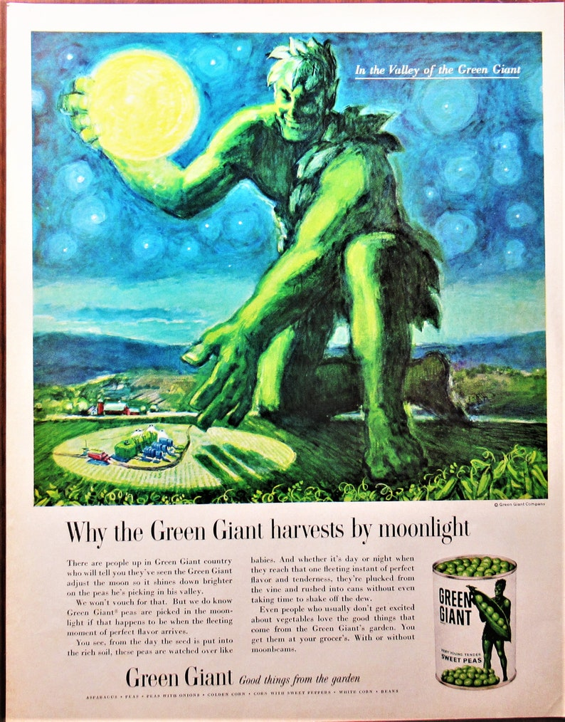 1961  Mid Century  advertising Why the Green Giant harvests by moonlight Vintage magazine Ad