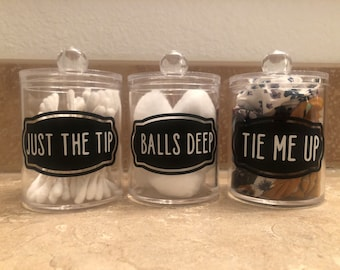 Bathroom Canister Etsy