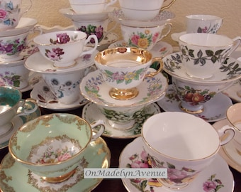 English Bone China Mix and Match Teacups and Saucers, Sets of 4