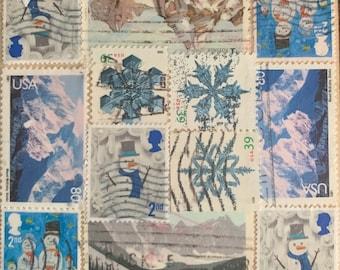 Snowflakes Postage Stamp Coaster