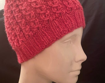 """Hand knit """"fake cable"""" winter hat"""