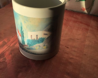 Mug with Lovely Landscape Polly Sutherland print on it.