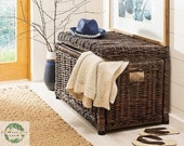 Large New Vintage Wicker Suitcase with Lid Rattan Storage Box with Lid Natural Handmade Lidded Picnic Case Toy chest Toy Basket