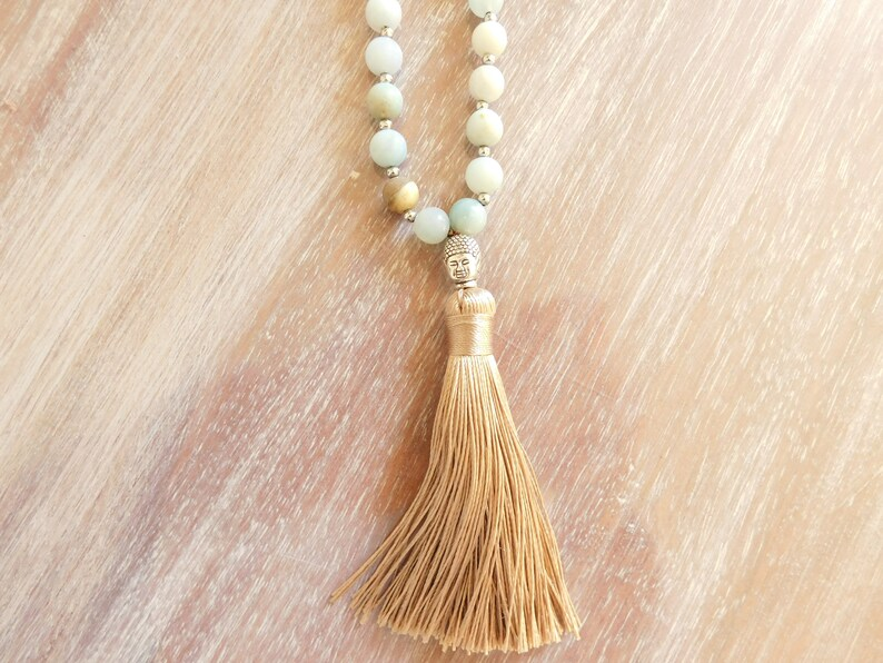natural stone necklace and silver Buddha pearl necklace