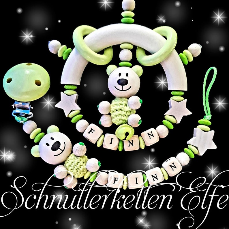 Pacifier chain with name and bite ring set