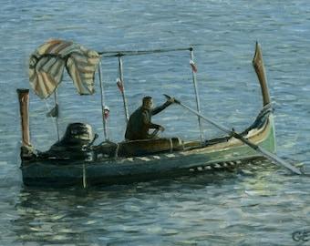Oil Painting: Dgħajsa Water Taxi, Valletta, Malta