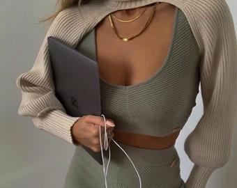 Women Turtleneck Beige Sexy Short Sweater 2021 Fashion Ladies Full Sleeve Chic Female Streetwear
