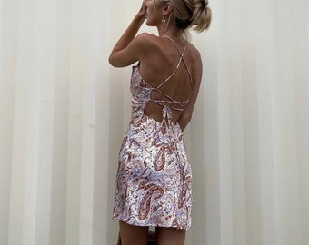 Women Sexy Graphic Printed Backless Jacquard Satin Mini Dress Summer Multicolour 2021 Cowl Neck *branded*