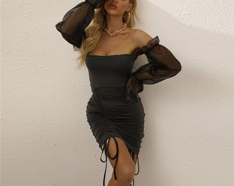 Black Drawstring Mesh Sleeve Mini Dress