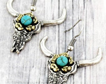 Beautiful Crafted Burnished Two-Tone and Turquoise Flower Etched Longhorn EarringsWestern EarringsAnimal JewelryEarringsGifts for Her