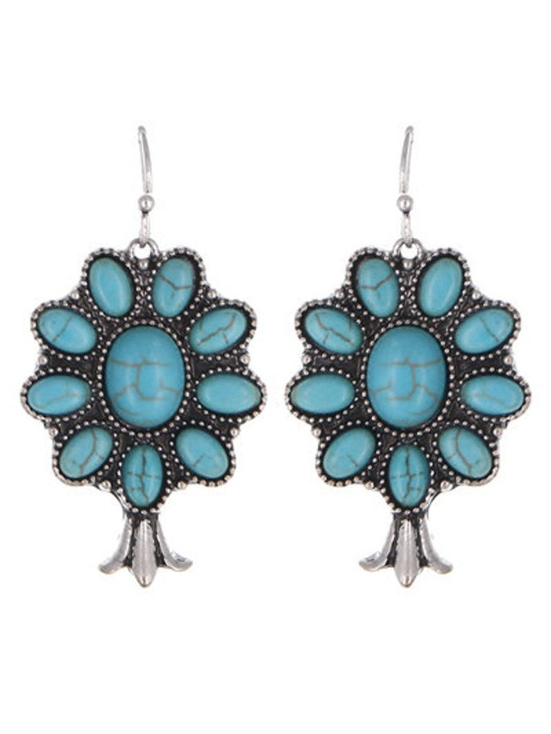 Beautiful Crafted Semi Precious Turquoise Stone Squash Blossom EarringsWestern JewelryGifts for HerAccessories